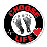 Choose Life Black/Red Circle Magnet