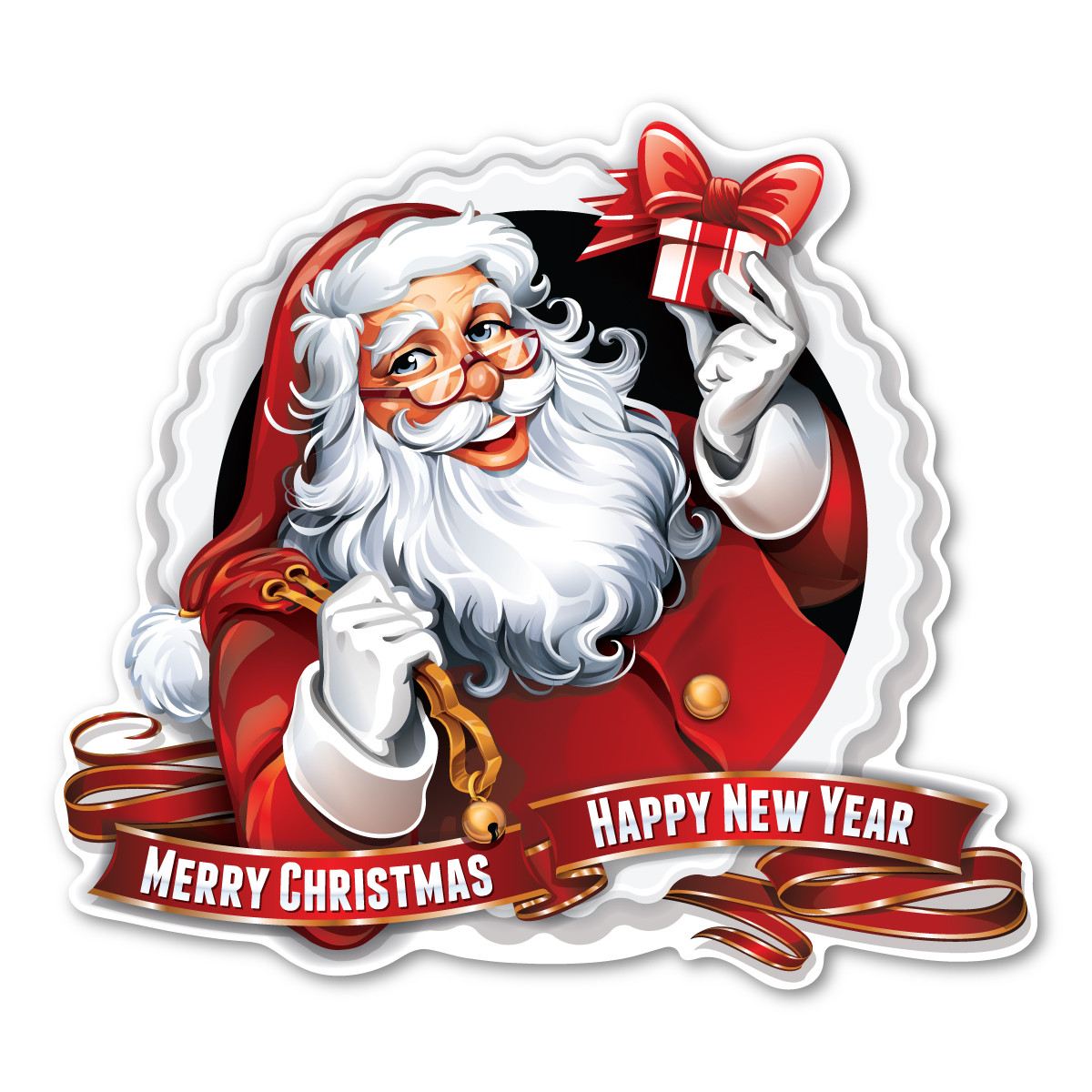 Merry Christmas/Happy New Year Santa Magnet | Magnet America
