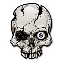 One-Eyed Cracked Skull Magnet