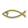 The Jesus fish (known as the ichthys or ichthus for the Greek) is symbolic due to the two intersecting arcs.  It was a used as a secret Christian symbol by early Christians.