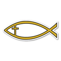 Gold Cross Fish Mini Magnet