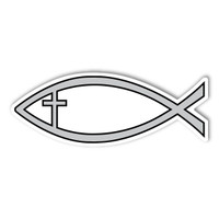 Silver Cross Fish Mini Magnet