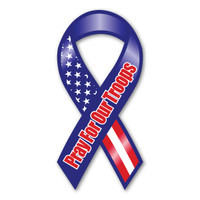 This beautifully designed magnet, with American flag theme, is perfect for showing support for and reminding everyone to pray for the safe return of our troops.
