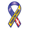 """The phrase """"Support Our Troops"""" first began gaining popularity during the Gulf War when it was used, along with the yellow ribbon symbol, as an expression of the desire to bring our troops home safe. It has continued to grow in popularity since 2003 with Magnet America's """"Support Our Troops"""" Yellow Ribbon Magnet, which was introduced in honor of those serving in Iraq. This Mini Ribbon Magnet displays the colors of the American Flag as well as the yellow color traditionally used to show support for the troops. This item is another great way to show your support for the men and women serving in our country's military."""
