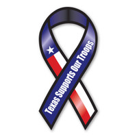 This Mini Ribbon Magnet displays the Texas state flag and is a great way for Texans to show both their support for our country's military as well as their pride for their state.