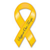 """While the history of the Yellow Ribbon as a sign of military support begins with the poem """"She Wore a Yellow Ribbon,"""" it began gaining popularity in the United states in 1979 with the Iran Hostage Crisis. It's popularity returned during the Gulf War along with the phrase """"Support Our Troops,"""" and has continued gaining popularity since 2003, when Magnet America introduced the """"Support Our Troops"""" Ribbon Magnets in honor of those serving in Iraq. This """"Support Our Troops"""" Yellow Mini Ribbon Magnet is another great way to show your support for the men and women who serve in our country's military."""
