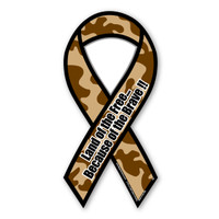Land of The Free Because of The Brave (Brown Camo) Ribbon Magnet