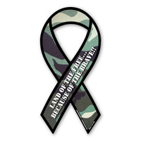 Land of The Free Because of The Brave (Green Camo) Ribbon Magnet