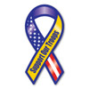 """The phrase """"Support Our Troops"""" first began gaining popularity during the Gulf War when it was used, along with the yellow ribbon symbol, as an expression of the desire to bring our troops home safe. It has continued to grow in popularity since 2003 with Magnet America's """"Support Our Troops"""" Yellow Ribbon Magnet, which was introduced in honor of those serving in Iraq. This Large Ribbon Magnet displays the colors of the American Flag as well as the yellow color traditionally used to show support for the troops. This item is another great way to show your support for the men and women serving in our country's military."""