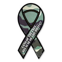 Land of The Free Because of The Brave (Green Camo) Mini Ribbon Magnet