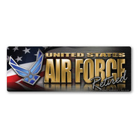 Air Force Retired Chrome Bumper Strip  Magnet