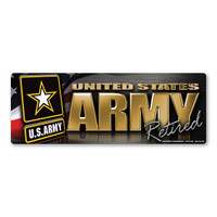 Army Retired Chrome Mini Bumper Strip  Magnet