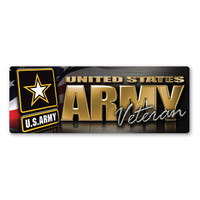 Army Veteran Chrome Bumper Strip  Magnet