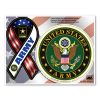 The United States Army dates back before the founding of our country, taking its origin from the Continental Army. This branch was founded June 14, 1775 to fight in the Revolutionary War. Today, the Army continues to defend our country overseas in land-based operations. This Mini Ribbon/Circle Magnet Combo Pack is a great way for both current and former members of the Army to show pride in their branch, as well as for others to show support for the men and women who serve our country.