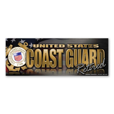 The United States Coast Guard was founded in 1790 and serves as both a branch of the military as well as law enforcement. During times of peace, the Coast Guard operates lighthouses and works with the Department of Homeland Security to protect our borders. During times of war, the Coast Guard works with the Navy and its resources are used in military operations. This Bumper Strip Magnet is a great way for Retired members of the Coast Guard to show pride in their service to our country.