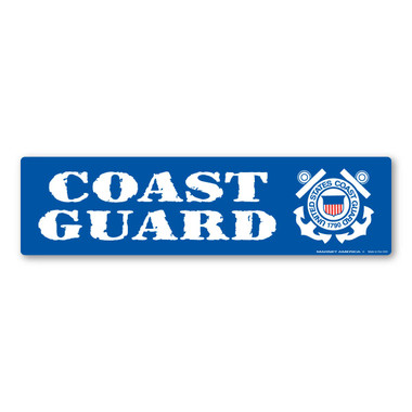 The United States Coast Guard was founded in 1790 and serves as both a branch of the military as well as law enforcement. During times of peace, the Coast Guard operates lighthouses and works with the Department of Homeland Security to protect our borders. During times of war, the Coast Guard works with the Navy and its resources are used in military operations. This Bumper Strip Magnet is a great way for current and former members of the Coast Guard to show pride in their branch as well as for others to show support for the men and women who serve their country.