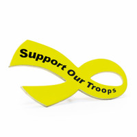 "While the history of the Yellow Ribbon as a sign of military support begins with the poem ""She Wore a Yellow Ribbon,"" it began gaining popularity in the United states in 1979 with the Iran Hostage Crisis. It's popularity returned during the Gulf War along with the phrase ""Support Our Troops,"" and has continued gaining popularity since 2003, when Magnet America introduced the ""Support Our Troops"" Ribbon Magnets in honor of those serving in Iraq. This ""Support Our Troops"" Yellow Ribbon Lapel Pin is another great way to show your support for the men and women who serve in our country's military."