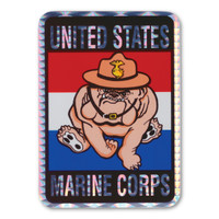 "In 1775, the Marine Corps was formed as the Continental Marines. They were specifically established to serve as an infantry branch that was able to engage in combat both on land and at sea during the American Revolutionary War. Today, members of the Marine Corps work closely with the Navy as well as the Army and the Air Force, gaining nicknames such as ""America's third Air Force"" and ""America's second land Army."" This Holographic Rectangle Decal with the Marine Bulldog is a great way for current and former members of the USMC to show pride in their branch as well as for others to show their support."