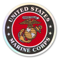 "In 1775, the Marine Corps was formed as the Continental Marines. They were specifically established to serve as an infantry branch that was able to engage in combat both on land and at sea during the American Revolutionary War. Today, members of the Marine Corps work closely with the Navy as well as the Army and the Air Force, gaining nicknames such as ""America's third Air Force"" and ""America's second land Army."" This Holographic Circle Decal with the Marine Seal is a great way for current and former members of the USMC to show pride in their branch as well as for others to show their support."