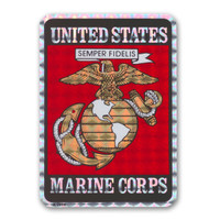 """In 1775, the Marine Corps was formed as the Continental Marines. They were specifically established to serve as an infantry branch that was able to engage in combat both on land and at sea during the American Revolutionary War. Today, members of the Marine Corps work closely with the Navy as well as the Army and the Air Force, gaining nicknames such as """"America's third Air Force"""" and """"America's second land Army."""" This Holographic Rectangle Decal with the Marine Seal is a great way for current and former members of the USMC to show pride in their branch as well as for others to show their support."""