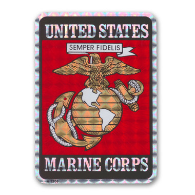 "In 1775, the Marine Corps was formed as the Continental Marines. They were specifically established to serve as an infantry branch that was able to engage in combat both on land and at sea during the American Revolutionary War. Today, members of the Marine Corps work closely with the Navy as well as the Army and the Air Force, gaining nicknames such as ""America's third Air Force"" and ""America's second land Army."" This Holographic Rectangle Decal with the Marine Seal is a great way for current and former members of the USMC to show pride in their branch as well as for others to show their support."