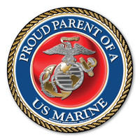 "In 1775, the Marine Corps was formed as the Continental Marines. They were specifically established to serve as an infantry branch that was able to engage in combat both on land and at sea during the American Revolutionary War. Today, members of the Marine Corps work closely with the Navy as well as the Army and the Air Force, gaining nicknames such as ""America's third Air Force"" and ""America's second land Army."" This Circle Magnet is a great way for Marine Parents to show their pride and support for their children's service to our country."