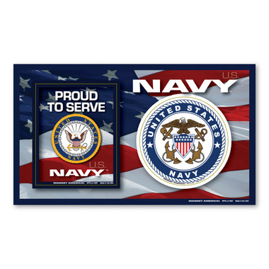 The U. S. Navy was founded in 1775 as the Continental Navy during the Revolutionary War. Today, the men and women of the Navy continue to serve our country and protect our freedom. This 3-in-1 Picture Frame Magnet is a great way for family and friends to display photos of the Sailor in their life. It also comes with two additional support magnets for both those who have or are currently serving in the Navy or for family and friends to show their pride and support for this branch.