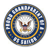 """The U. S. Navy was founded in 1775 as the Continental Navy during the Revolutionary War. Today, the men and women of the Navy continue to serve our country and protect our freedom. This 5"""" Circle Magnet is a great way for Navy Grandparents to show their pride and support in their grandchildren's service to our country."""