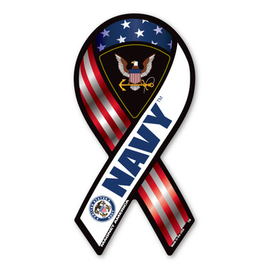 The U. S. Navy was founded in 1775 as the Continental Navy during the Revolutionary War. Today, the men and women of the Navy continue to serve our country and protect our freedom. This Mini Ribbon Magnet is a great way for both people currently serving in the Navy or those who have served in the past to display pride for their branch.
