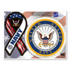 The U. S. Navy was founded in 1775 as the Continental Navy during the Revolutionary War. Today, the men and women of the Navy continue to serve our country and protect our freedom. This Mini Ribbon/Circle Magnet Combo Pack is a great for both people currently serving in the Navy or those who have served in the past to display pride for their branch. It can also be used by others to show support for the Navy.