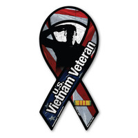 The Vietnam War is to be considered the longest war the United States was involved in.  It lasted right at 20 years.  Our Vietnam War Veteran Mini Ribbon Magnet has an American flag background with a veteran salute inset. It features the authentic service ribbon for the Vietnam War. What a wonderful way to show your pride as a Vietnam Veteran or in memory of a loved one who served!