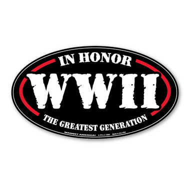 "World War II (WWII or WW2) lasted from 1939 to 1945.  It was a global war, including all the great powers. It involved more than 100 million people from 30 different countries.  Not only were military soldiers killed, many civilians lost their lives also.  This made World War II the deadliest war in history.  The term ""The Greatest Generation"" was made known by journalist Tom Brokaw.  This term is used to describe the generation who grew up in the Great Depression and then went on to fight in WWII.  It also describes all those who stayed on the home front by making contributions to the war effort.  Our WWII The Greatest Generation oval magnet is a special way to show honor to those who served and fought in this war."