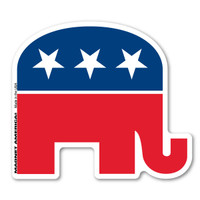 "Our Republican Elephant decal is a great way to show your support for the Republican Party. The party was formed in 1854.  Abraham Lincoln was the first member of the Republican party. The elephant was invented by Thomas Nast in 1874 when it became the symbol for the Republicans.  The elephant is a symbol for being ""strong and dignified.""  During election season, our custom-shaped Republican elephant decal is a great way to show your support for the Republican party."