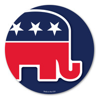 "Our Republican Elephant Circle magnet is a wonderful way to show your support for the Republican party.  The red, white, and blue colors show the true American spirit.  The Republican elephant was invented by Thomas Nast in 1874. It first appeared in Harper's Weekly. The elephant is a symbol for being ""strong and dignified.""  During election season, our Republican Elephant Circle Magnet is a great way to show your support for your political party."