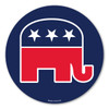 """Our Republican Elephant Circle magnet 2 is a wonderful way to show your support for the Republican party.  The red, white, and blue colors show the true American spirit.  The Republican elephant was invented by Thomas Nast in 1874. It first appeared in Harper's Weekly. The elephant is a symbol for being """"strong and dignified.""""  During election season, our Republican Elephant Circle Magnet 2 is a great way to show your support for your political party."""