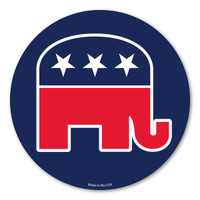 "Our Republican Elephant Circle magnet 2 is a wonderful way to show your support for the Republican party.  The red, white, and blue colors show the true American spirit.  The Republican elephant was invented by Thomas Nast in 1874. It first appeared in Harper's Weekly. The elephant is a symbol for being ""strong and dignified.""  During election season, our Republican Elephant Circle Magnet 2 is a great way to show your support for your political party."