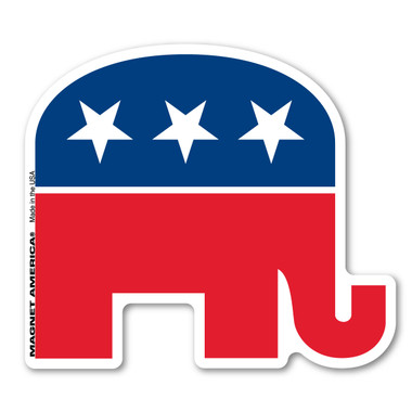 """Our Republican Elephant magnet is a great way to show your support for the Republican Party. The party was formed in 1854.  Abraham Lincoln was the first member of the Republican party. The elephant was invented by Thomas Nast in 1874 when it became the symbol for the Republicans.  The elephant is a symbol for being """"strong and dignified.""""  During election season, our custom-shaped Republican elephant magnet is a great way to show your support for your political party."""