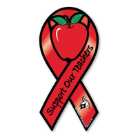 Our Support Out Teachers Red Ribbon magnet has an apple in the center and a schoolhouse on the bottom of the ribbon.  When school starts, the classroom is decorated in apples.  Apples have become a symbol for teachers. Apples were given to teachers for payment when parents were unable to pay school fees.  This practice was adopted in the US during the Great Depression in the 1930's. Apples are given now as a gift of appreciation.  Our Support Our Teachers Red Ribbon magnet is a great way to show support for the many teachers who give their time endlessly each day to our students.