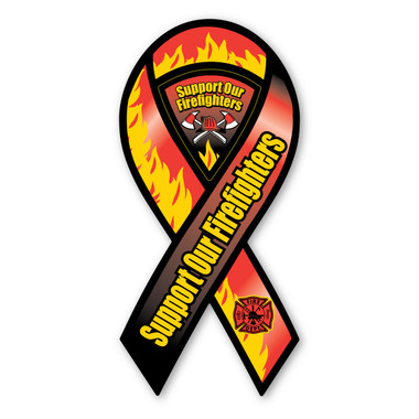 Support Our Firefighters ribbon magnet is a great way to show your support the brave men and women who risk their lives everyday.  Firefighters are hard workers, dedicating themselves to be able to do their job effectively by saving lives.   Bravery, loyalty and honor describes firefighters.  These ribbons are also a great fundraiser items for Firefighter support groups.