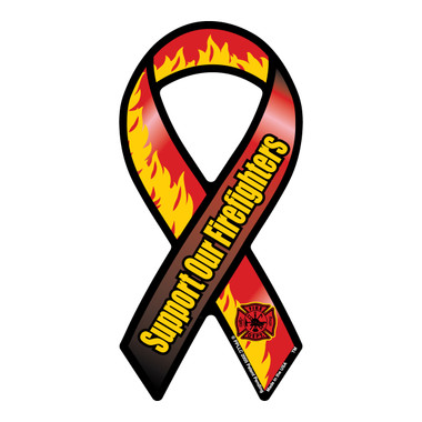 Support Our Firefighters mini ribbon magnet is a great way to show your support to the brave men and women who risk their lives everyday. Firefighters are hard workers, dedicating themselves to be able to do their job effectively by saving lives. Bravery, loyalty and honor describes firefighters. These mini ribbons are also a great fundraiser item for Firefighter support groups.