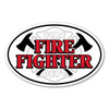 Firefighters, commonly known as a firemen, are not only trained in fire and rescue but first-aid, preservation of self and property, and prevention. Our Firefighter oval magnet has the maltese symbol along with pick-axes. Displaying this Firefighter magnet is a great way to show your pride and dedication to saving lives.
