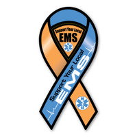 EMS (Emergency Medical Services) is anyone who works in a paramedic service or an ambulance service.  Our Support Your Local EMS ribbon magnet is a great way to show you are thankful for your local EMS or can be used as a fundraiser.