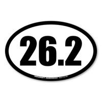Celebrate your marathon accomplishments with this black and white 26.2 oval decal! History tells us that the 26.2 was requested by Queen Alexandra. The first marathon started with 25 miles but she wanted the race to end at her royal box which ended up making the race 26.2. This distance became known as the standard and has been this way ever since 1908.