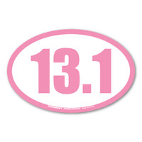 13.1 half marathons are the fastest growing race.  It is challenging and a great way to begin your training for marathons. Celebrating with this pink 13.1 oval decal  is a great way to show people your accomplishment!