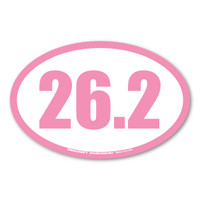 Celebrate your marathon accomplishments with this pink 26.2 oval decal! History tells us that the 26.2 was requested by Queen Alexandra. The first marathon started with 25 miles but she wanted the race to end at her royal box which ended up making the race 26.2.