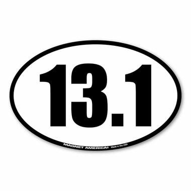 13.1 half marathons are the fastest growing race.  It is challenging and a great way to begin your training for marathons. Celebrate your half-marathon accomplishments with this 13.1 black and white oval magnet!