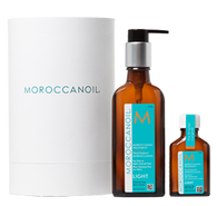 Moroccanoil Treatment Light, specifically formulated for fine or light colored hair, absorbs instantly to fill gaps in hair made by heat, styling and environmental damage. Hair goes from rough and frizzy to brilliantly shiny, smooth and manageable. With this Home & Travel Duo, keep a full-size at home and bring the handy travel size on the go for gorgeous hair anywhere!