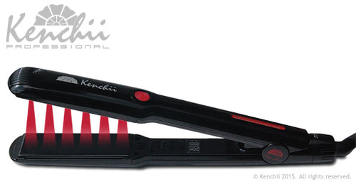 Kenchii Intellion infrared hair iron showing infrared rays.