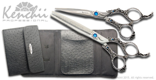 "Evolution 5.5"" straight scissor with 46-tooth thinner and black KEO 6-scissor case."