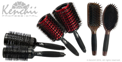 Ultimate Brush Kit includes large Rapide brush, extra large Rapide brush, large ceramic brush, extra large ceramic brush, large wood pin brush, and larger boar's hair and nylon brush.